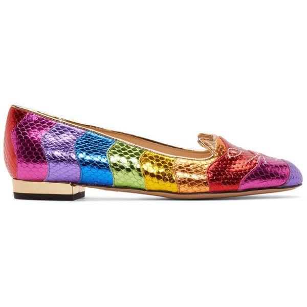 Multicolor Metallic Rainbow Kitty Flats Charlotte Olympia NkQIr
