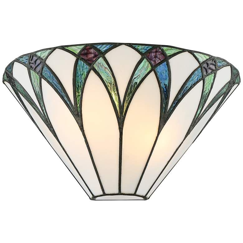 Filton 6 High Blue Tiffany Style Wall Sconce 68d14 Lamps Plus Tiffany Style Wall Sconces Glass Wall Sconce