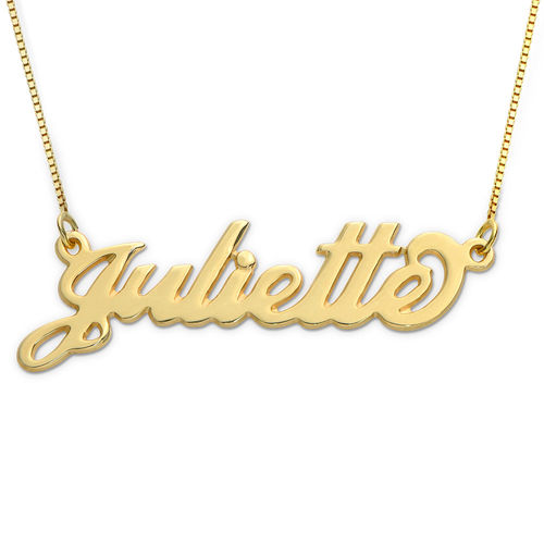 Small 10k Yellow Gold Carrie Style Name Necklace In 2020 Name Necklace Diamond Moon Necklace Personalized Gold Necklace