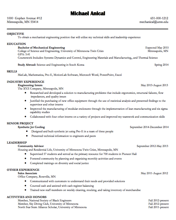 Example Of Mechanical Engineering Examples Resume Cv Mechanical Engineering Resume Community Advisor