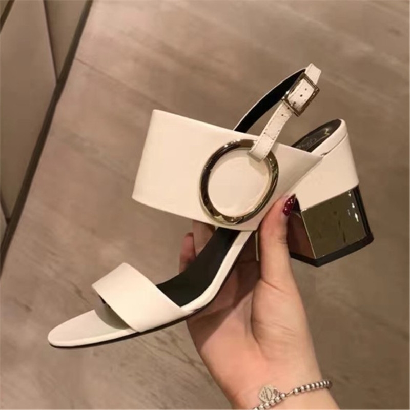 59.40$  Buy here  - plus size 34-43 Fashion Genuine leather high heeled sandals Gladiator summer women Pumps Metal Decoration sexy open toe shoes
