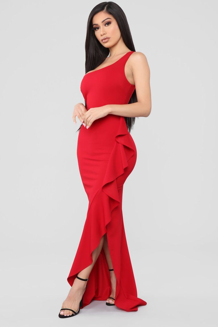 Can't Stop Loving You One Shoulder Maxi Dress Red