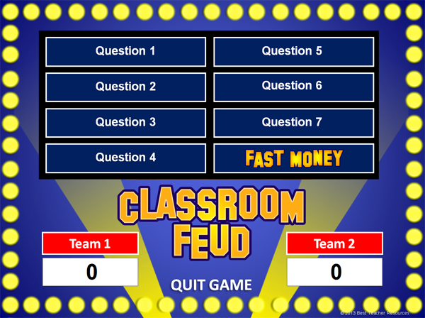 Family feud powerpoint game template school pinterest for Wheel of fortune game template for powerpoint