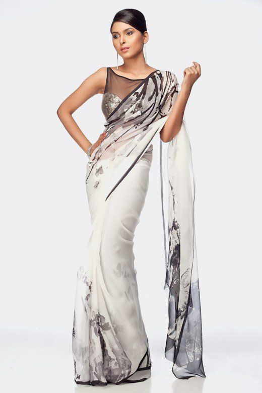 8ede2ff26f Black and White simple elegant saree. Satya Paul Designer Saree and Designer  Blouse.