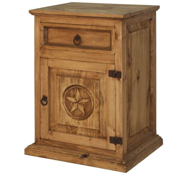 Rustic Wood Nightstand With Texas Star Left Side Wood - Star bedroom furniture