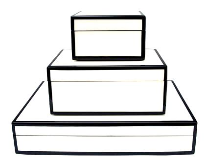 Black And White Decorative Boxes White Lacquer Black Trim Wooden Boxes   Design  Packaging