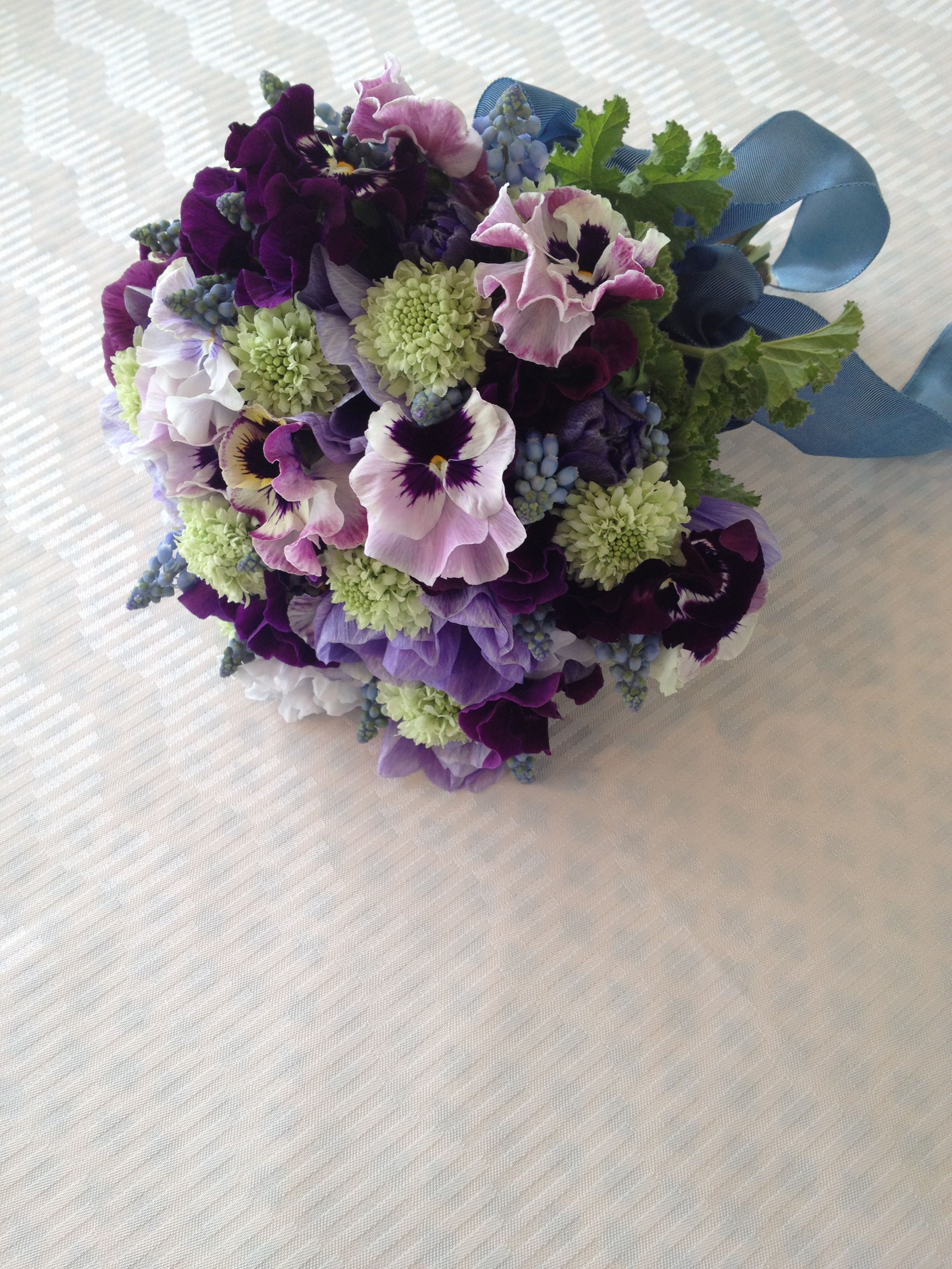 Pansy Anemone Scabiosa And Muscari Flower Bouquet Wedding Bride Flowers Beautiful Bouquet