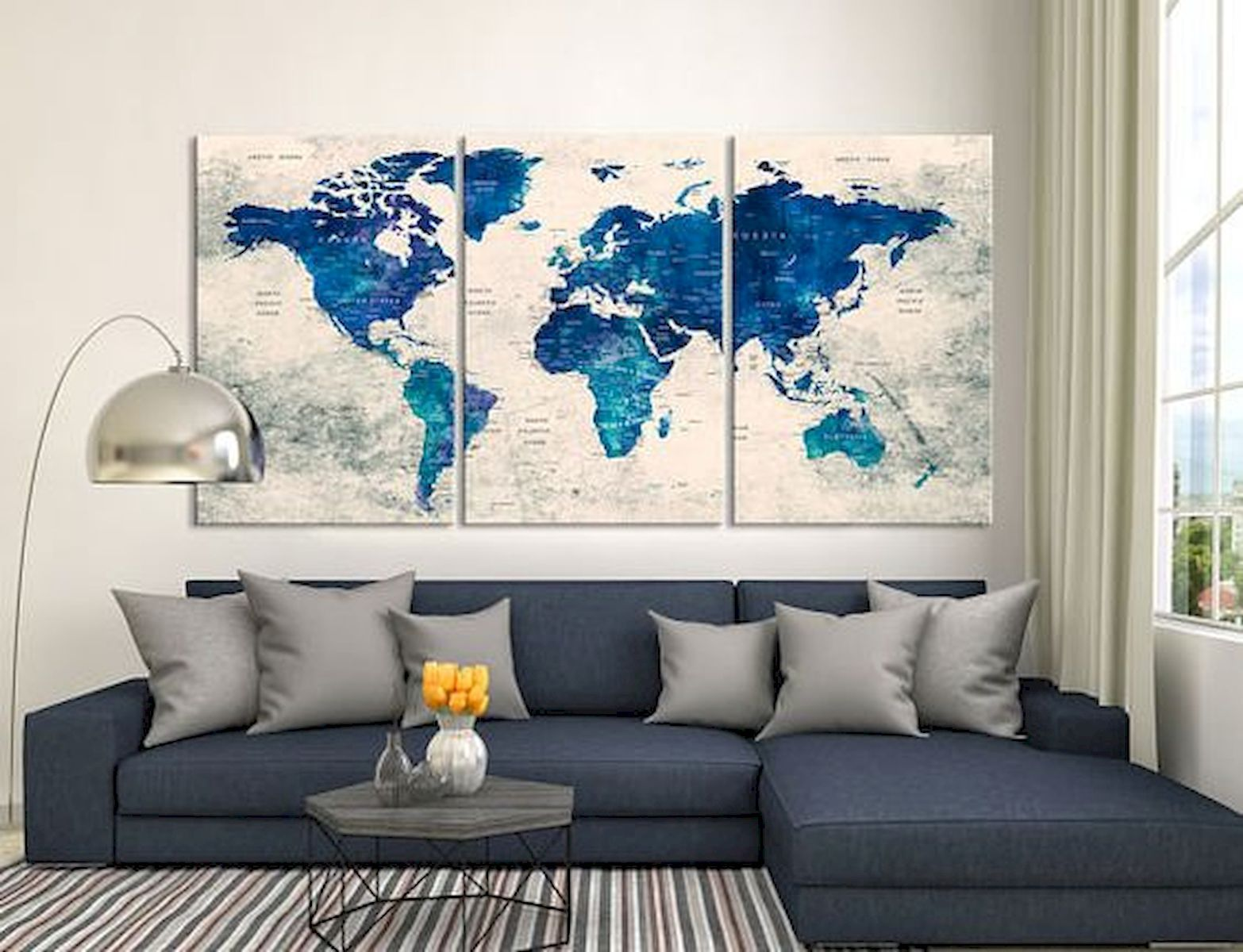 Gorgeous 60 Most Elegant Wall Art Ideas For Living Room Makeover Https Roomadness Com 2018 07 27 60 Most Elegant W World Map Decor Map Decor World Map Canvas