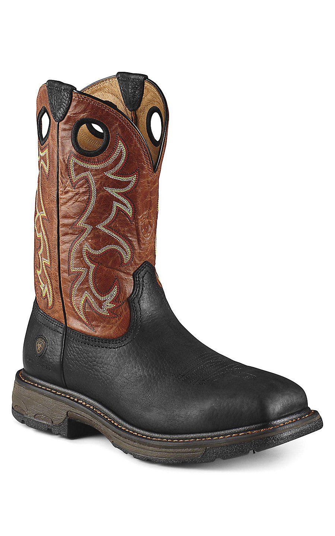 Ariat Mens Black Boots Workhog Wide Square Toe St Adobe