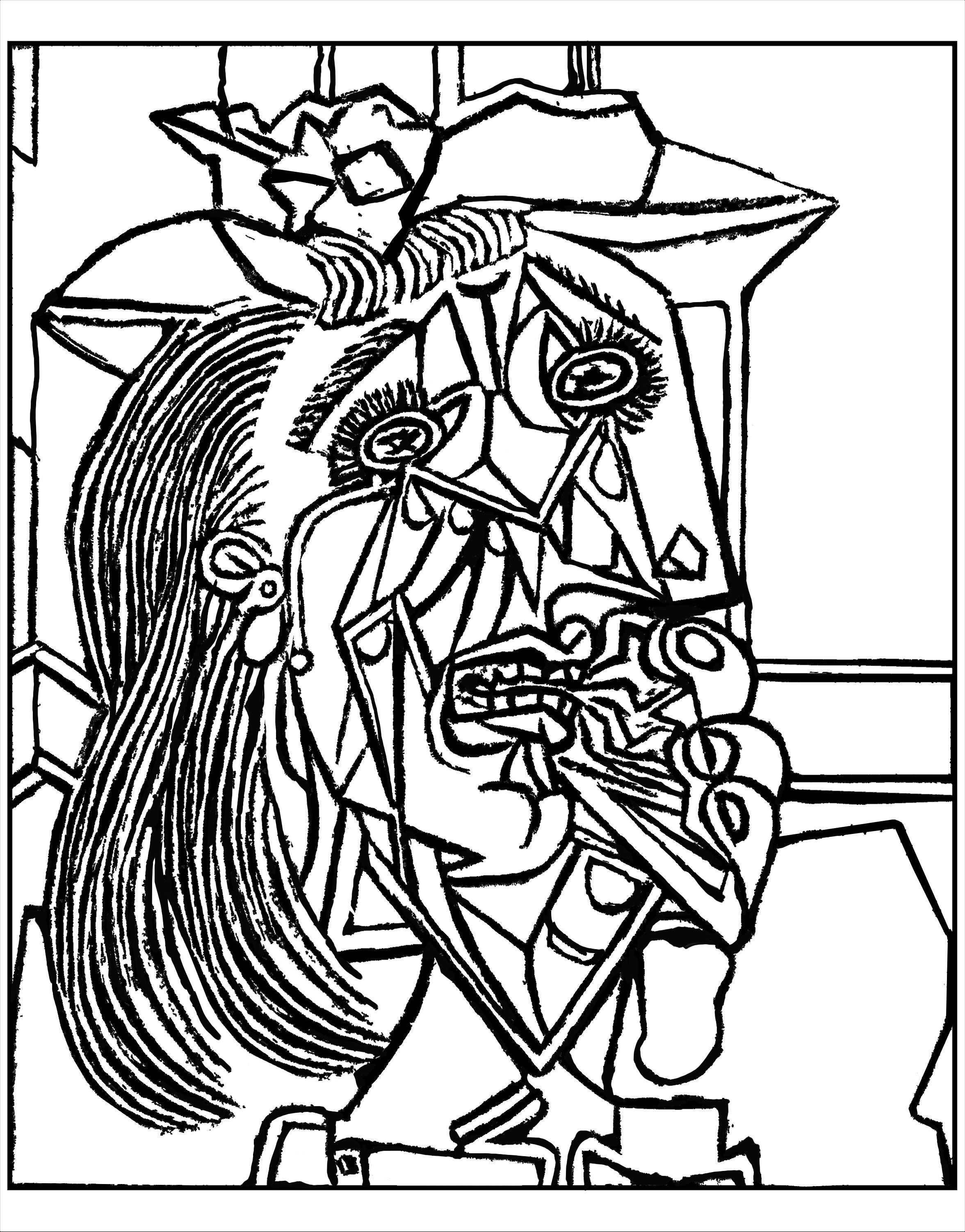 Free Coloring Page Coloring Adult From Picasso Weeping