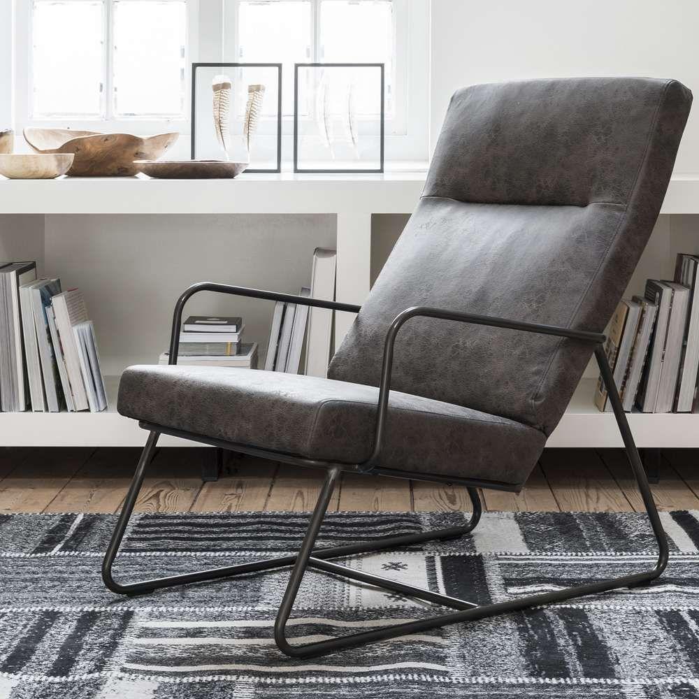 Armlehnsessel VERMONT Leder Steingrau Lounge Sessel Relaxsessel  Fernsehsessel