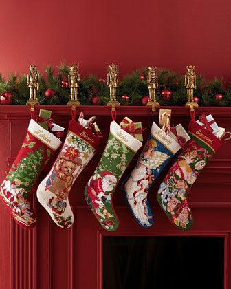 Sferra Holiday Needlepoint Christmas Stocking