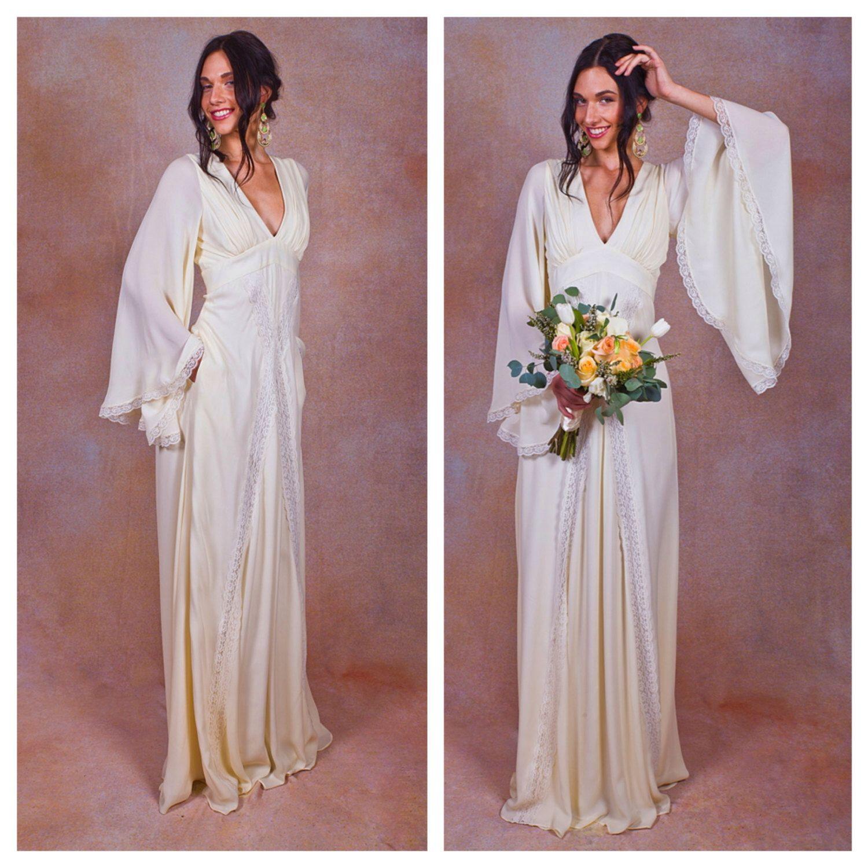 Ivory pure silk bohemian wedding dress bell angel sleeves elegant