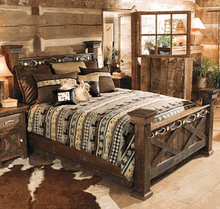 Rustic Wood Bedroom Furniture love the furniture, probably a different bed spread though :) with