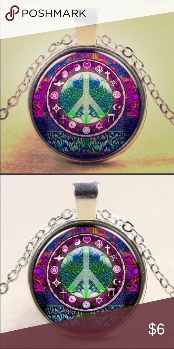 Peace Sign Necklace Hippie Necklace Hippie Necklace Peace Sign Necklace Womens Jewelry Necklace