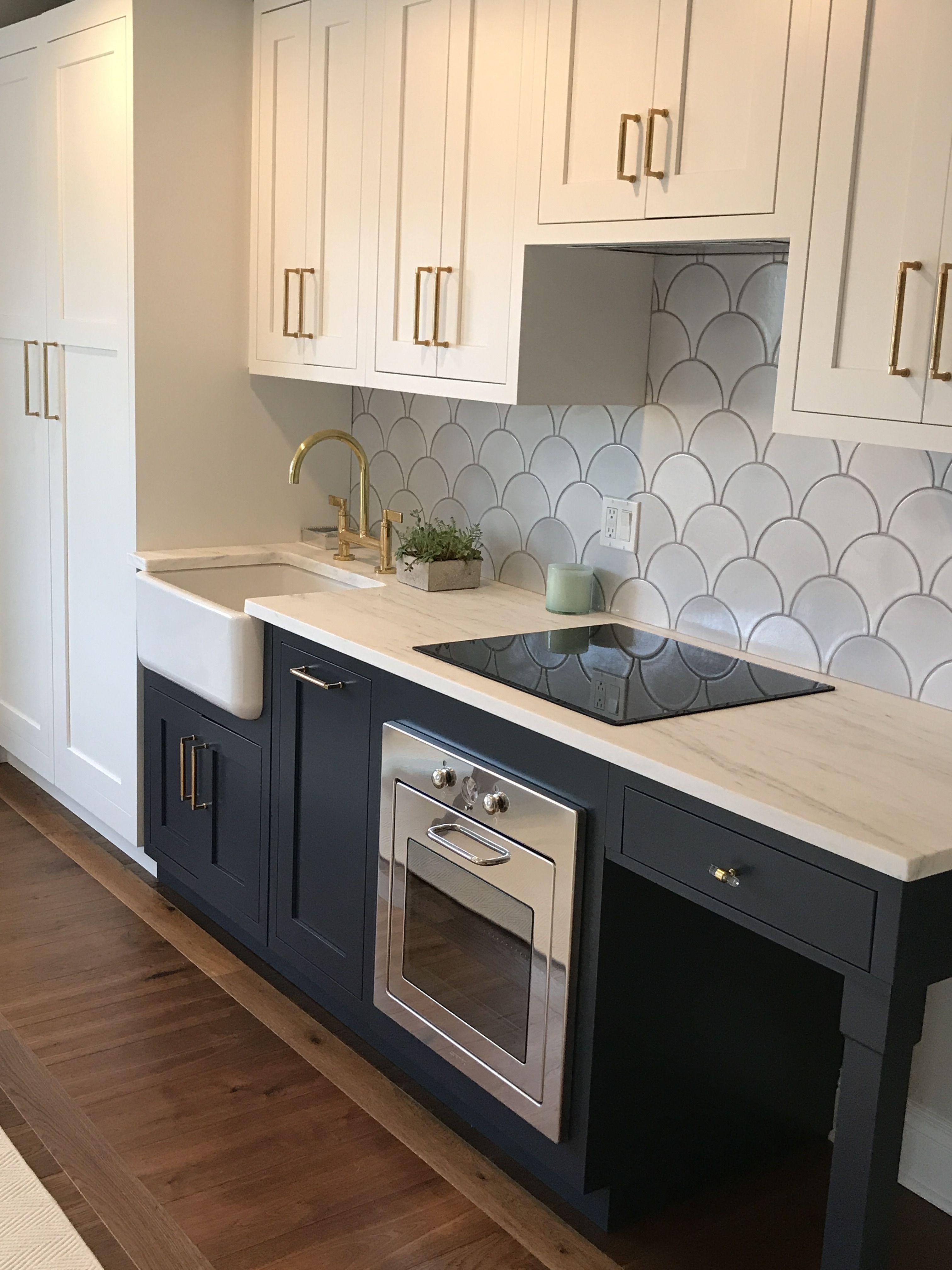 Kitchen Backsplash Tile And Navy Cabinets Kitchen Tiles Backsplash Kitchen Home