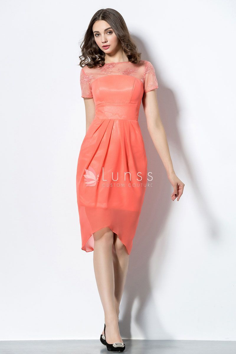 Fashionable Orange Bridesmaid Dress With Sheath Skirt The Straight Bodice Made Of Satin Shows Close