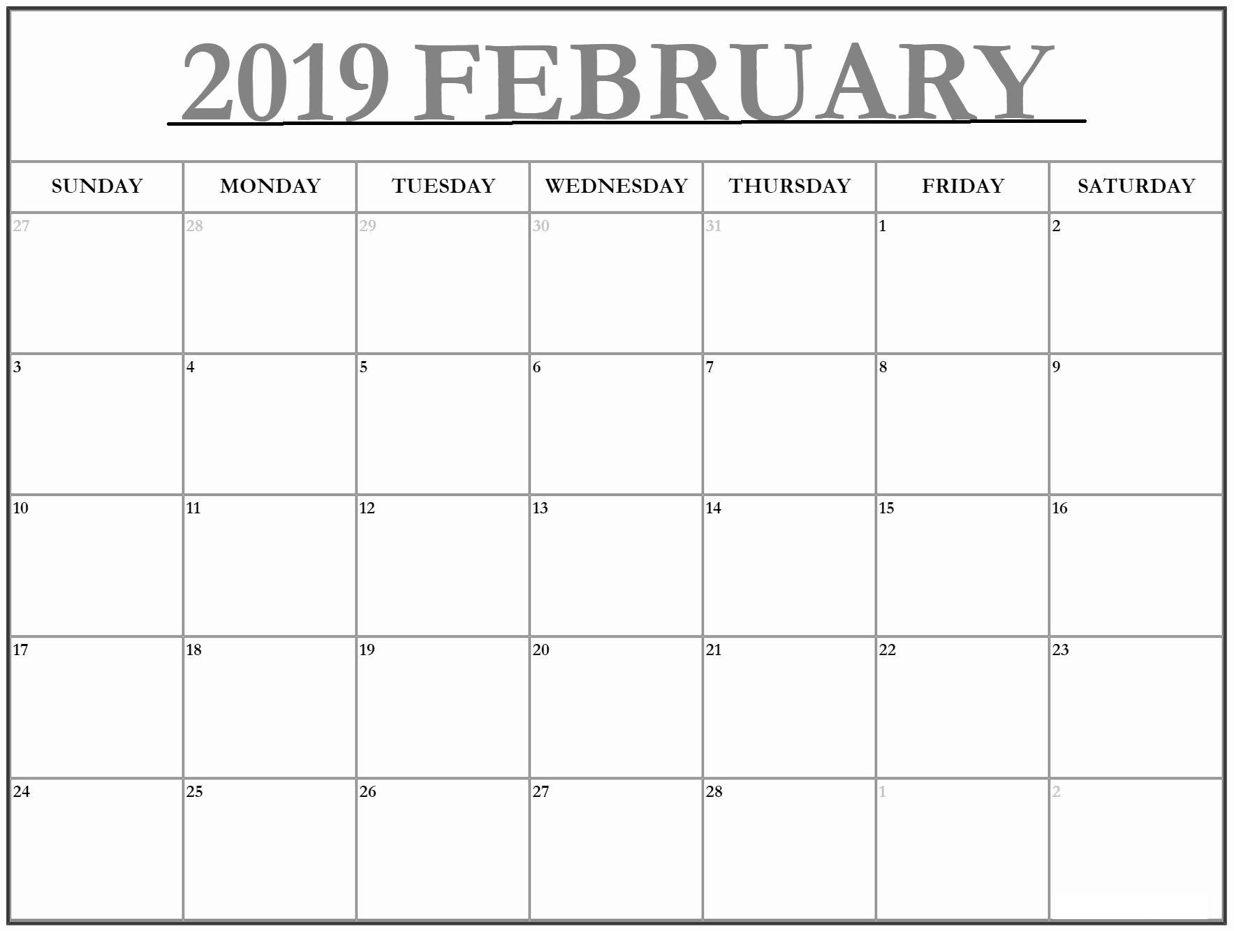 Big February 2019 Calendar February 2019 Calendar Template Large | February 2019 Calendar