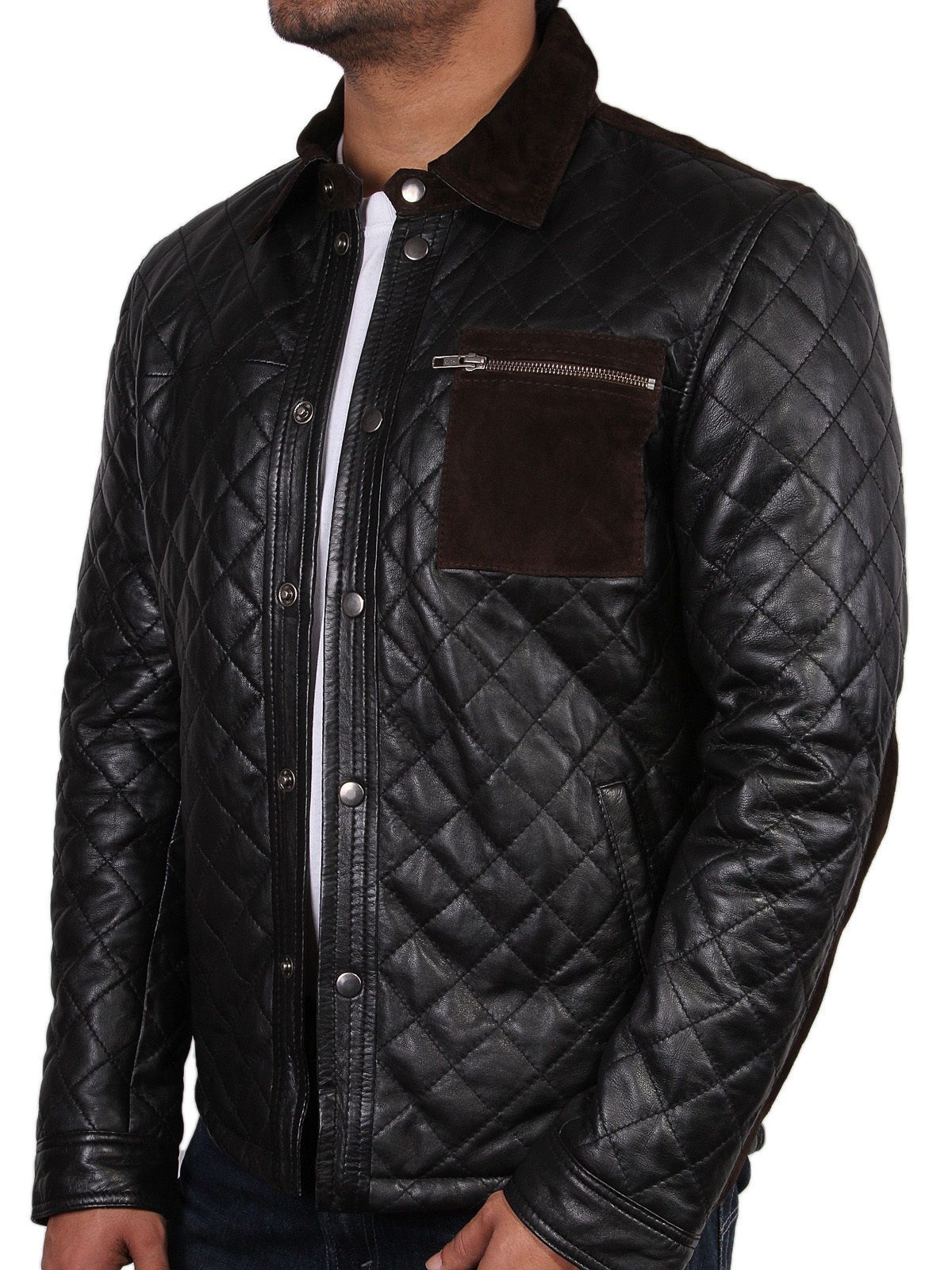 New Men's quilted leather jacket, New men quilted