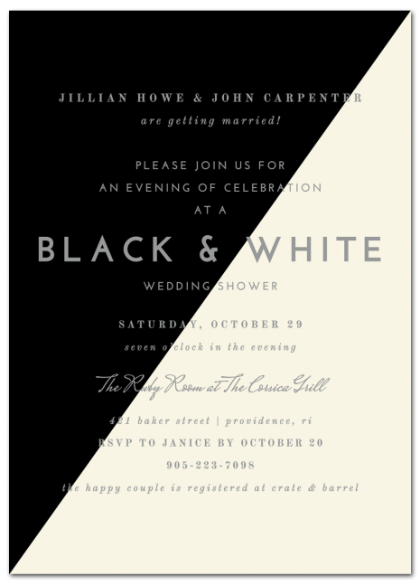 sophisticated black & white couples shower invitation | www, Party invitations