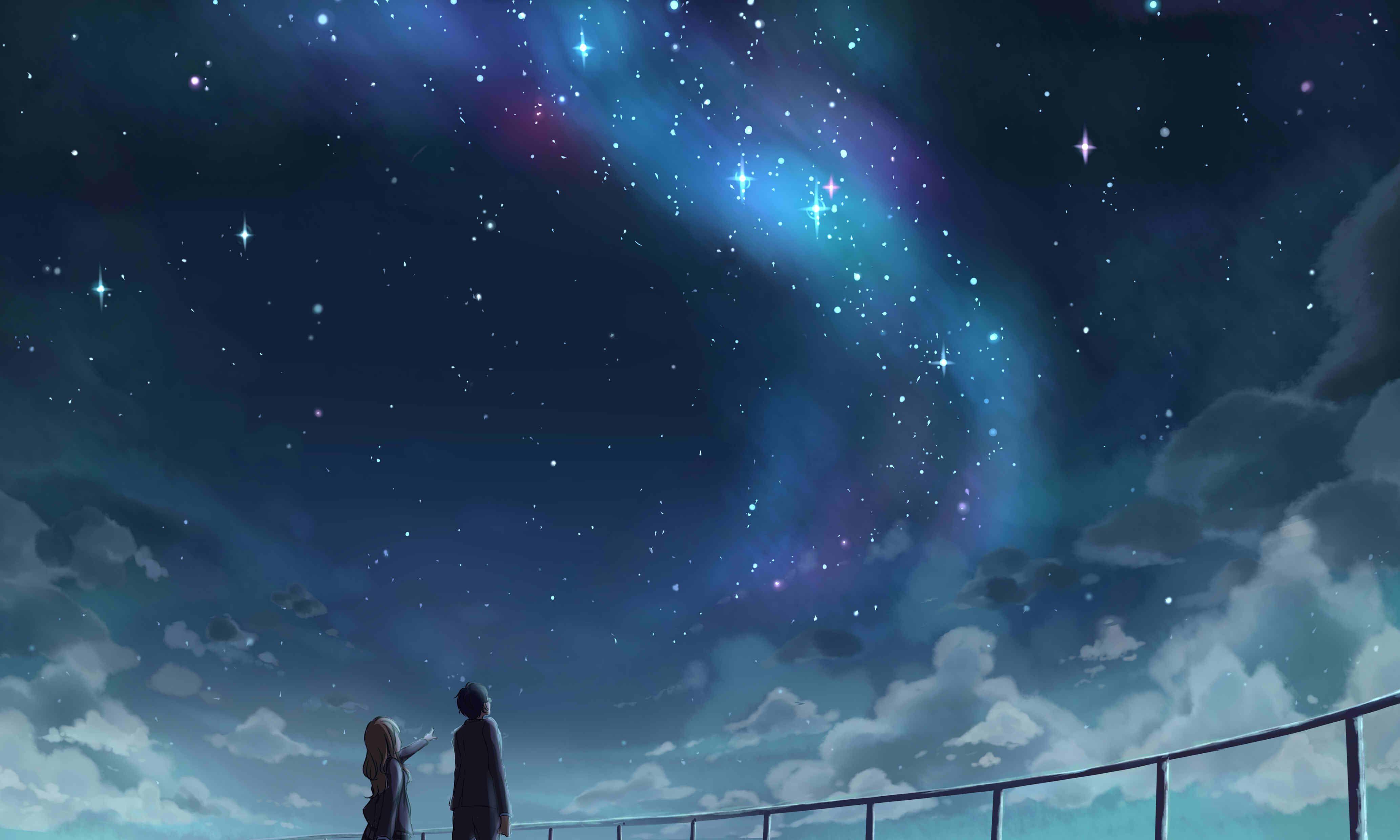 Arima Kousei Miyazono Kaori Pemandangan Anime Pemandangan Animasi