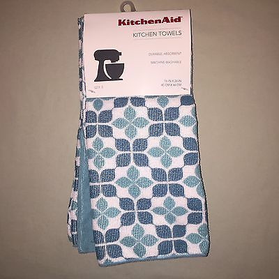 Kitchenaid Kitchen Towels Set Of 3 Aqua Nwt Kitchen Aid