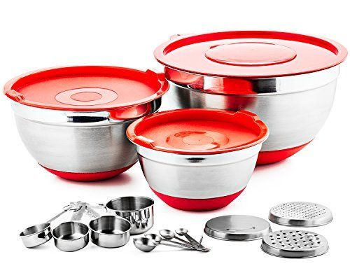 4d1278e1e6e Chefs Star 17 Piece Stainless Steel Mixing Bowl Set with AntiSlip Silicone  Base Includes 3 Stainless