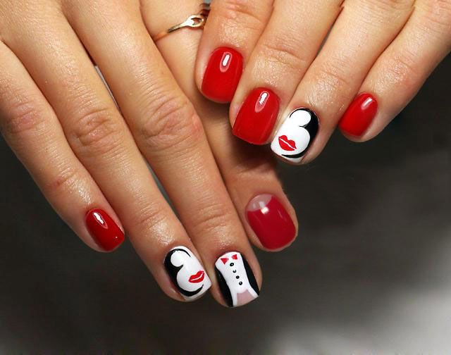 10 Simple and Easy Nail Art Designs: Red-White-Black Nails with Pattern