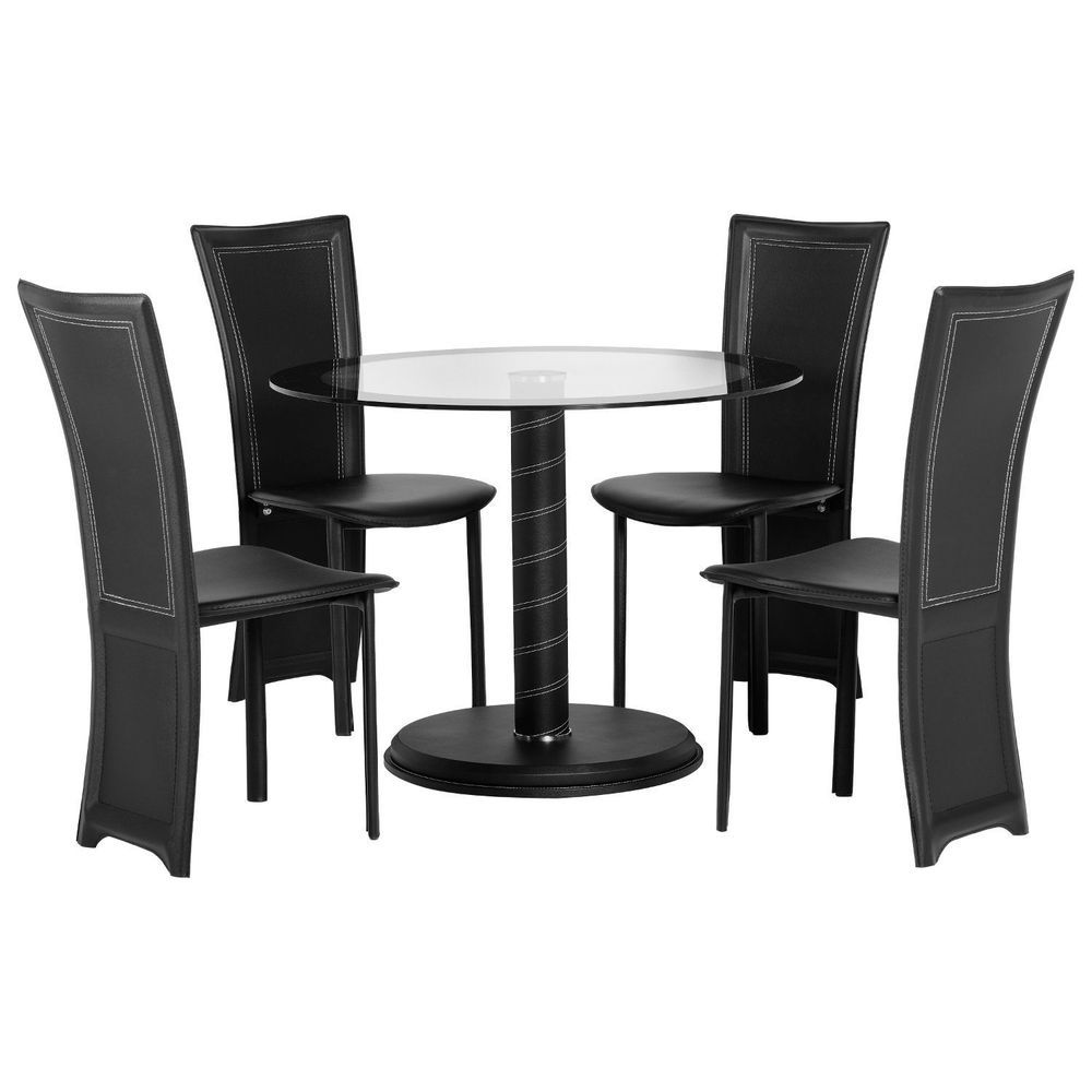 4 Seater Dining Set Glass Top Round Table Black Chair Plastic