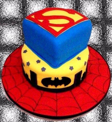 Boys Birthday cakeSupermanBatmanSpiderman theme Butter cream