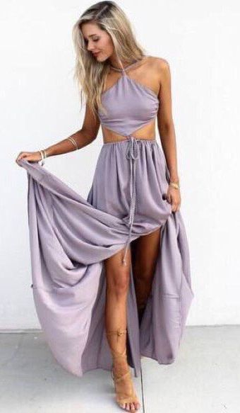 Sexy Floor Length Prom Party Dress Light Purple Halter With