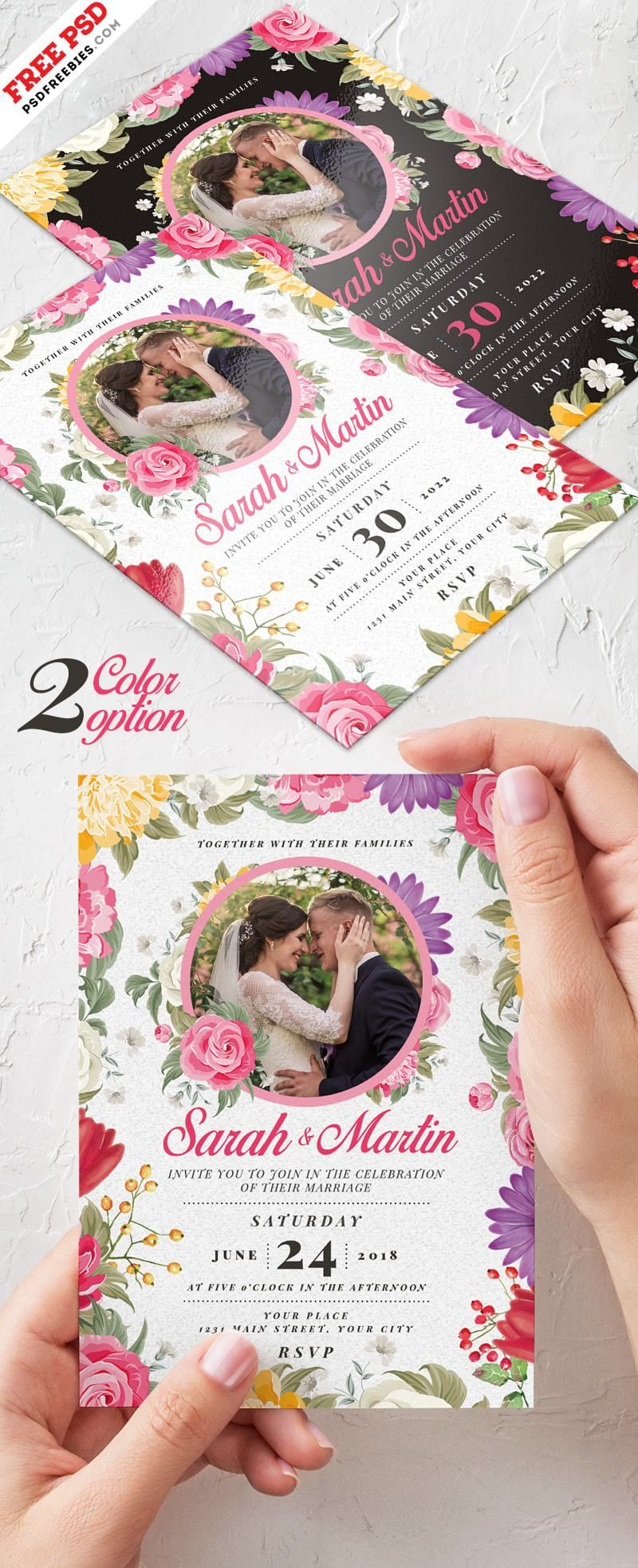 Wedding Invitation Card Free Psd Template More Freebies
