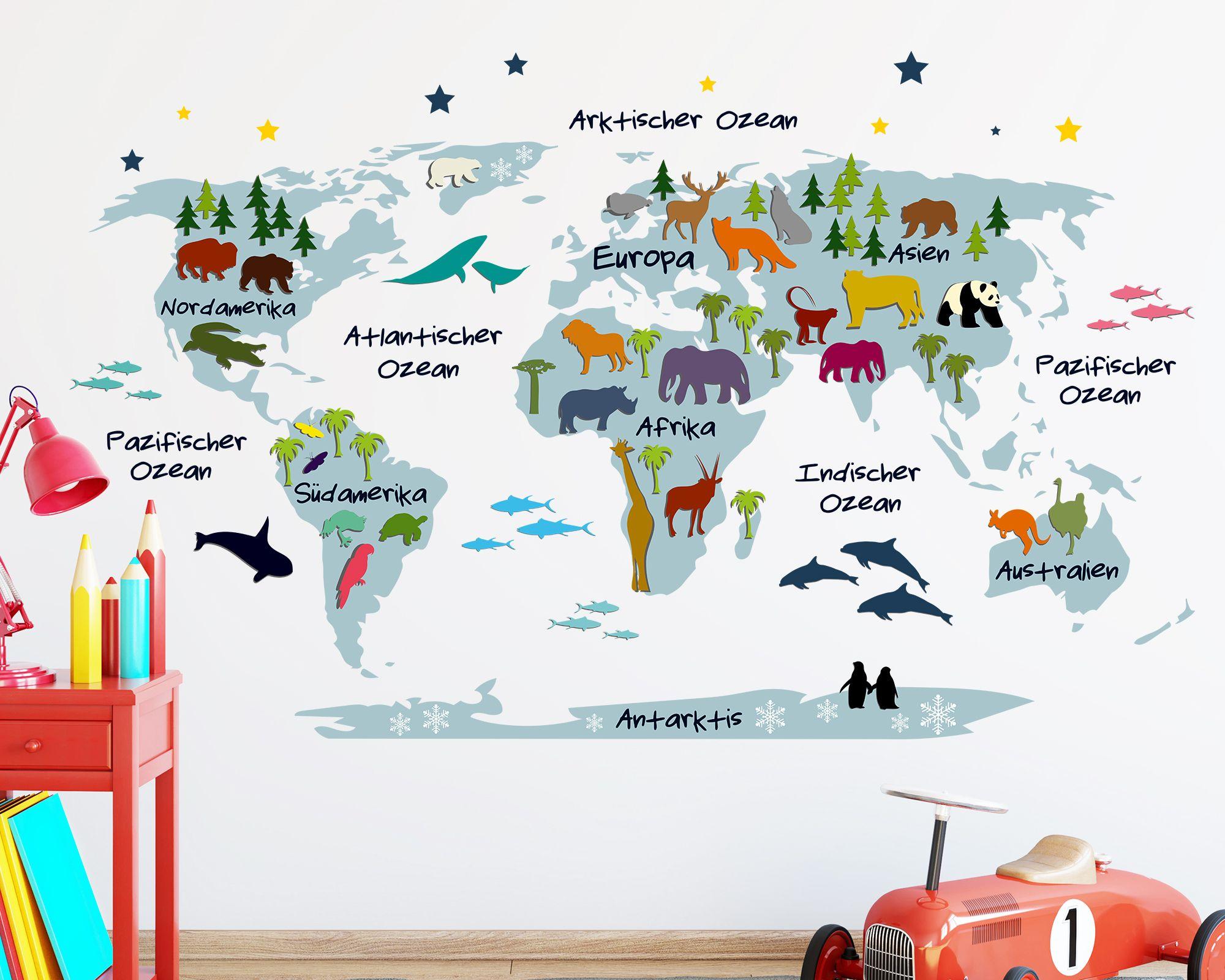 Weltkarte für kleine Entdecker im Kinderzimmer. Gesehen