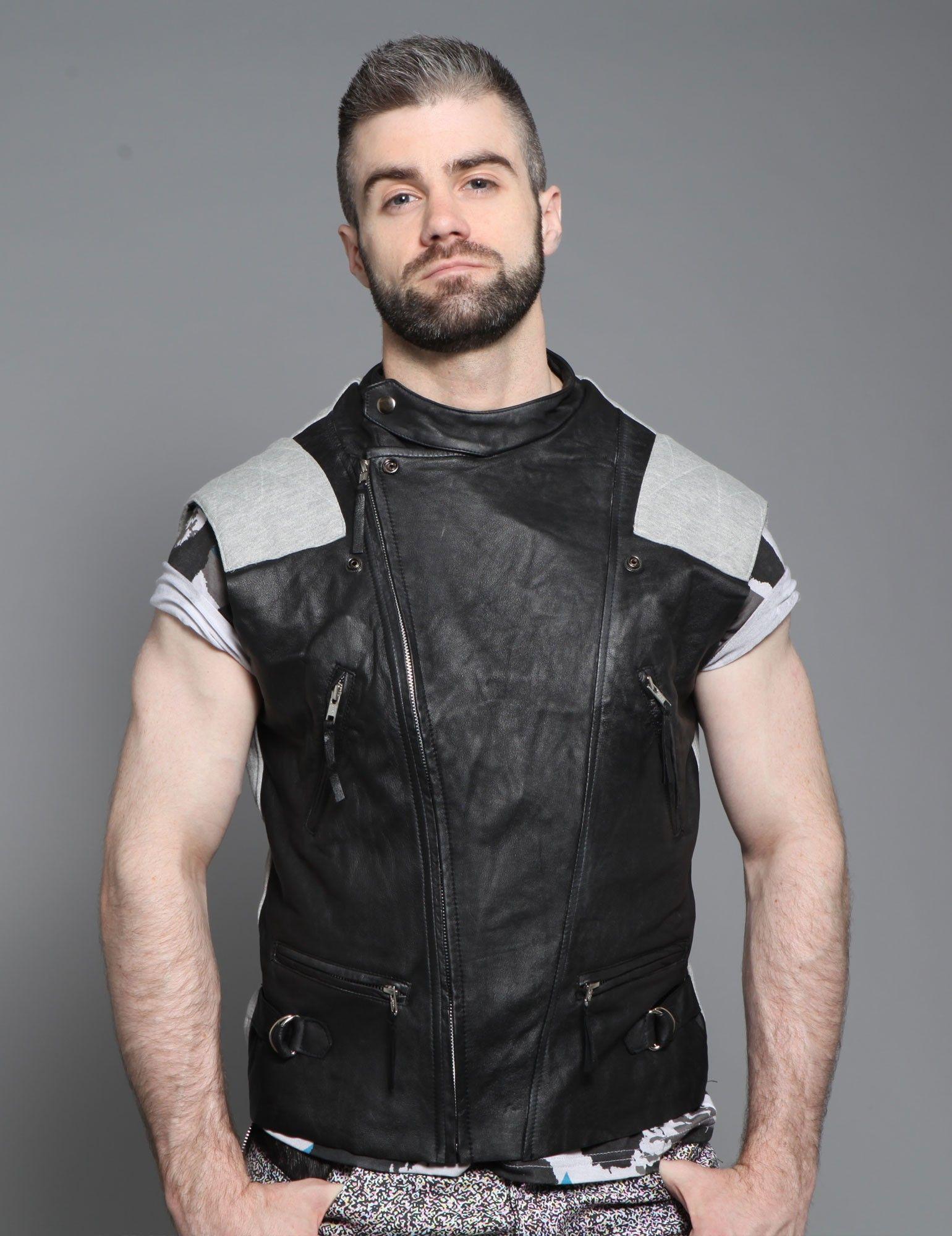 Leather front biker gilet