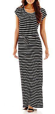 S.H.E. SOUL HARMONY ENERGY S.H.E. Cap-Sleeve Striped Drawstring-Waist Maxi Dress