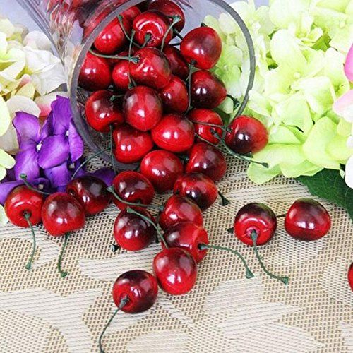 30Pcs Fake Lifelike Faux Cherry Artificial Fruit Model House Kitchen Party Decor ** Read more  at the image link.