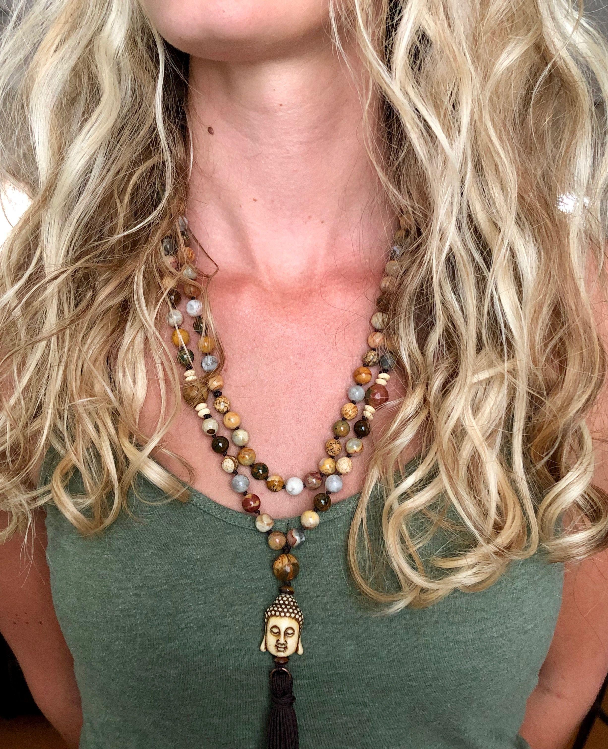Mala Bead Necklace W Buddha Guru Mala Bead Necklace Boho Style Necklaces Mala Beads