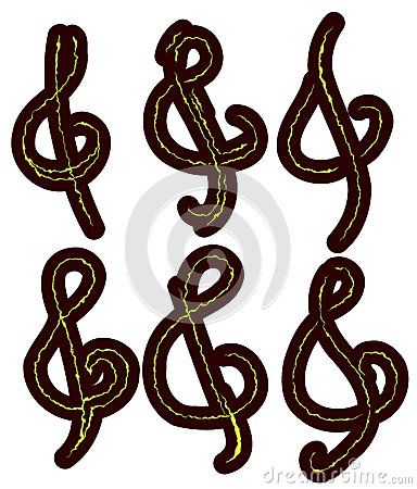 Set of treble cleff usable for decoration or tattoo