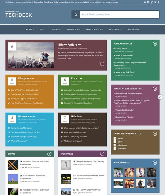 This knowledge base/FAQ WordPress theme has a Bootstrap framework ...