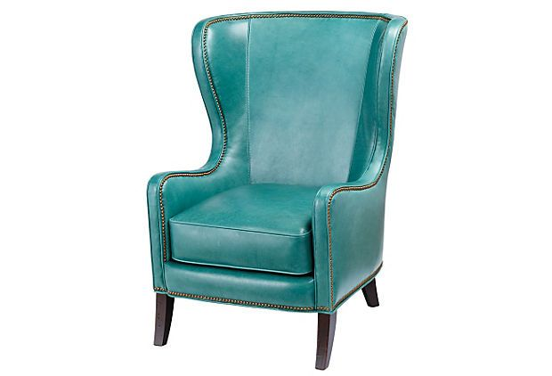 Dempsey Leather Chair Turquoise Leather Wingback Chair