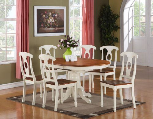Kenley 7 Pc Oval Dinette Dining Table 6 Chairs Butter Milk Brown Finish East West Fur Contemporary Dining Furniture Dining Room Sets Small Kitchen Table Sets
