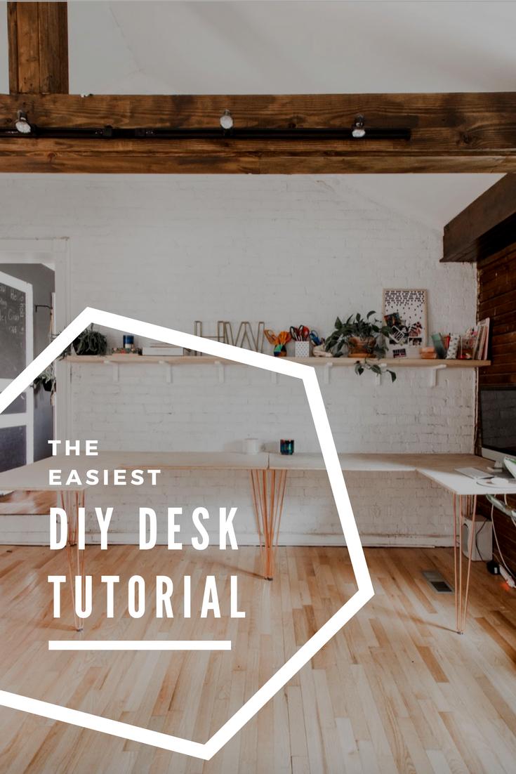 The Easiest DIY Desk Tutorial   Home Office   DIY, Easy ...