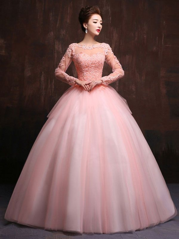 Modest Blush Pink Long Sleeves Quinceanera Ball Gown Prom Dress ...