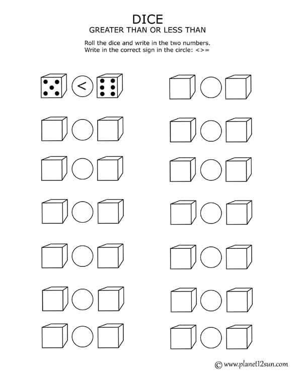 Free printable worksheet Dice - greater, less than, equal to