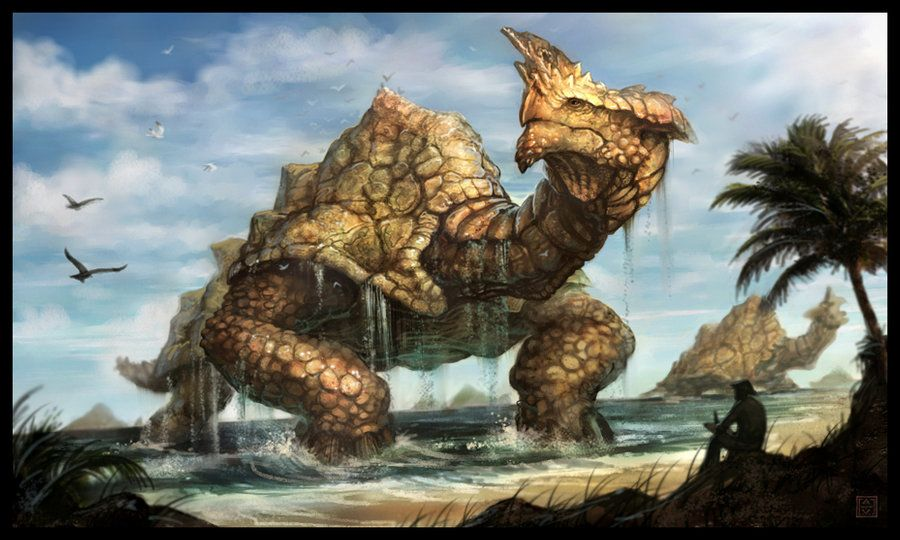 """This weeks Creature of the Week is """"75 Tons""""...I sat on the beach sketching a small series of islands just off the coast. I was surprised to see them slowly growing larger and gently bobbing up and..."""