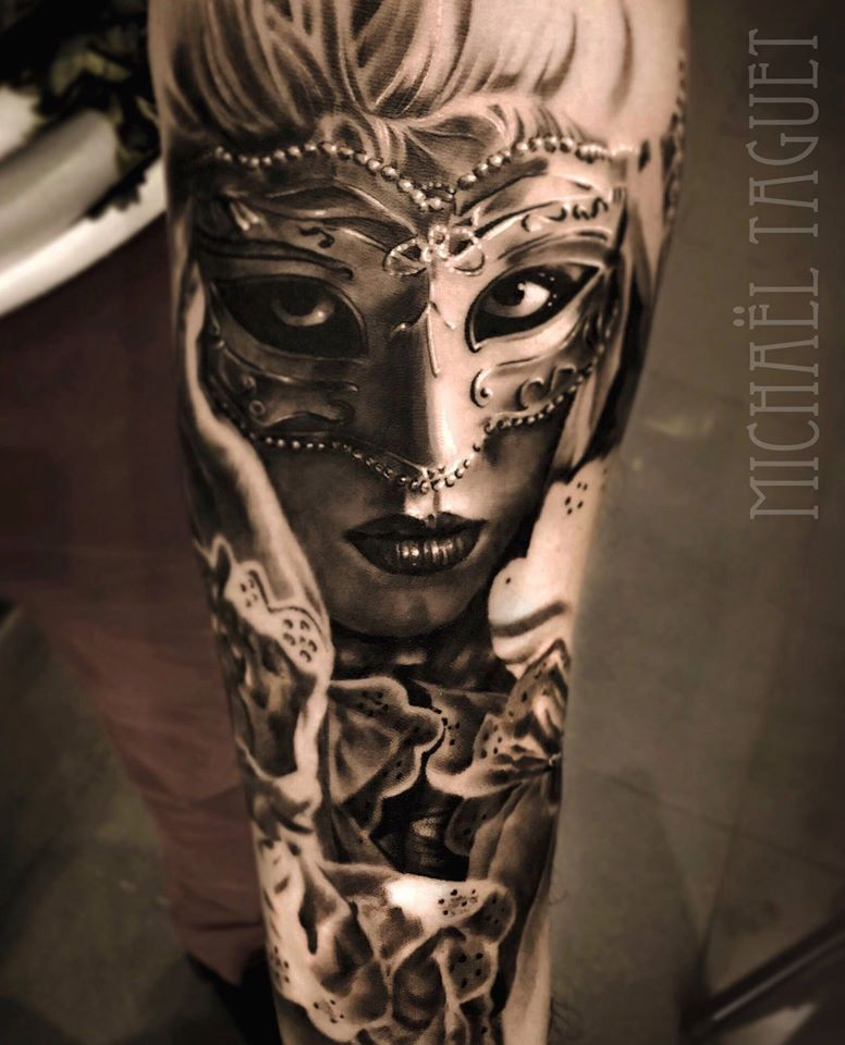 Tattoo Woman Face Mask: Tattoo By Michaël Taguet (@michaeltaguet)