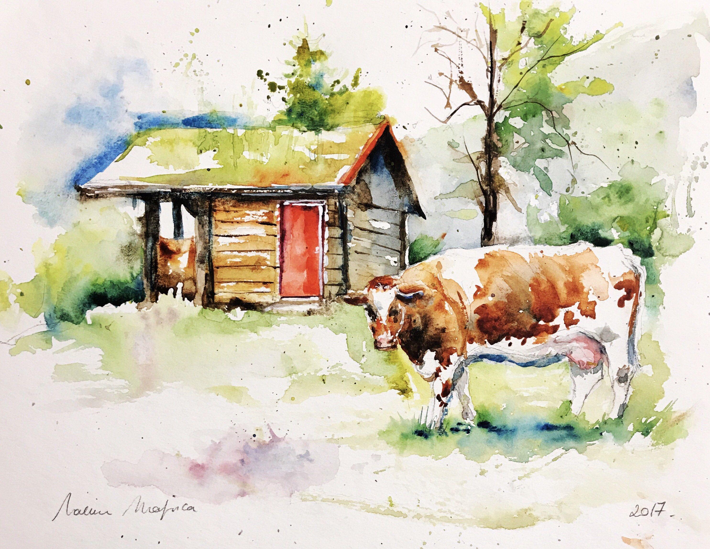 Aquarelle Peinture Originale Vache Dans Les Alpes Suisses