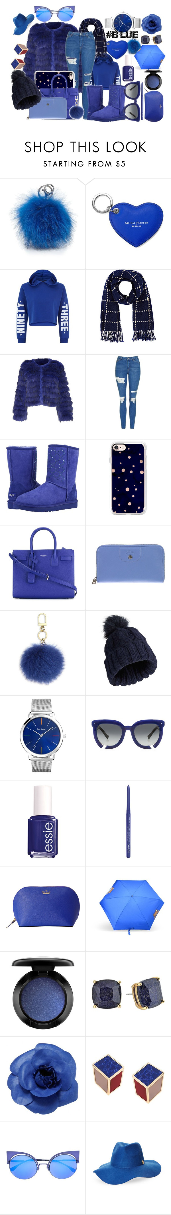 """#blue"" by queeniekori on Polyvore featuring Adrienne Landau, Aspinal of London, New Look, Barneys New York, Alice + Olivia, Topshop, UGG, Casetify, Yves Saint Laurent and Longchamp"