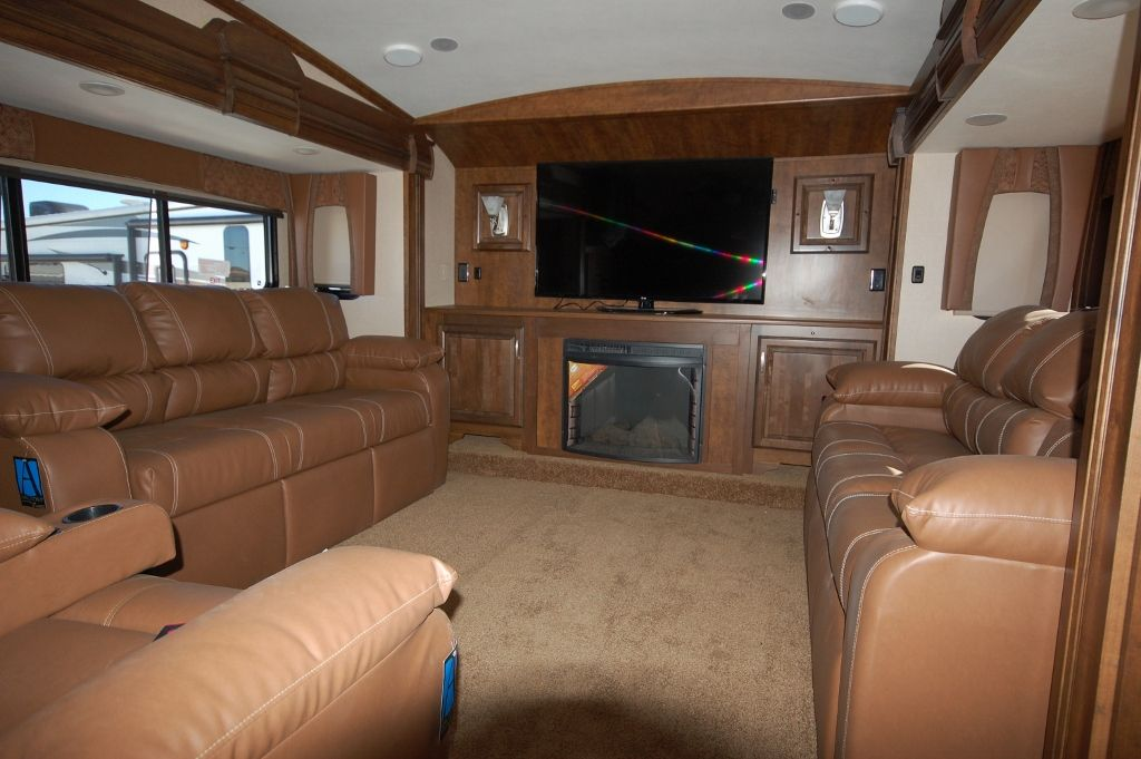 forest river cardinal 5th wheel with a gorgeous front living room