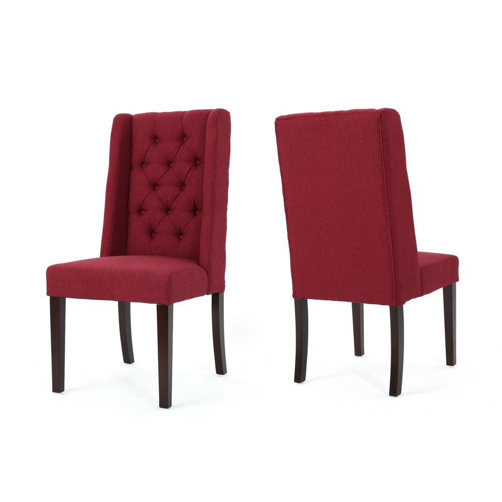 Set Of 2 Blythe Tufted Dining Chairs Dark Charcoal Christopher